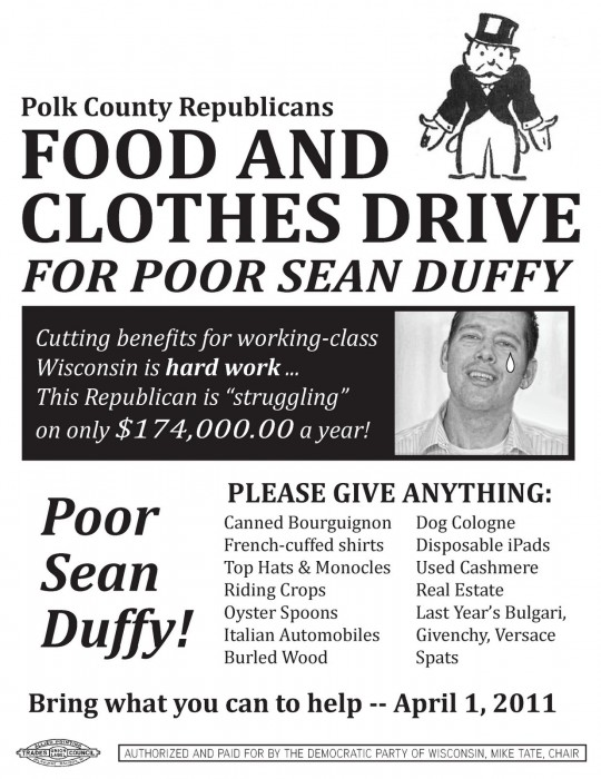 Food and Clothes Drive for Republican Sean Duffy.