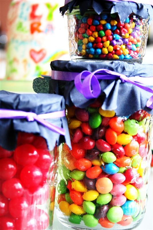 jar and skittles decoration