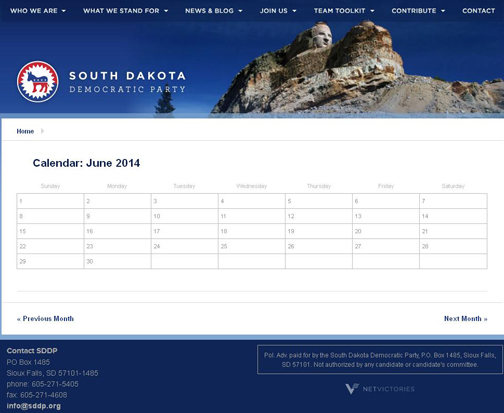 SD Democratic Party Calendar 2014